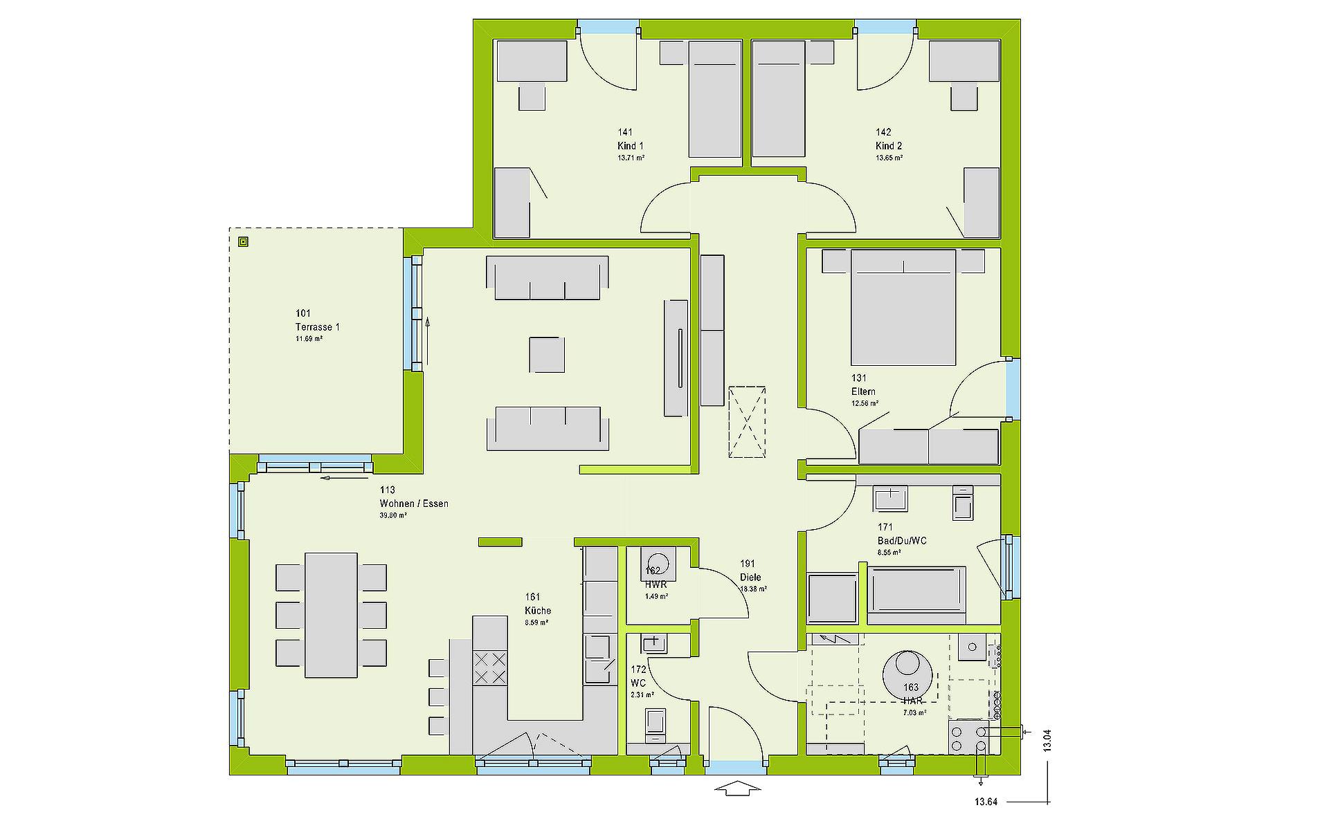 Erdgeschoss ComfortStyle 13.03 W  von massa haus GmbH