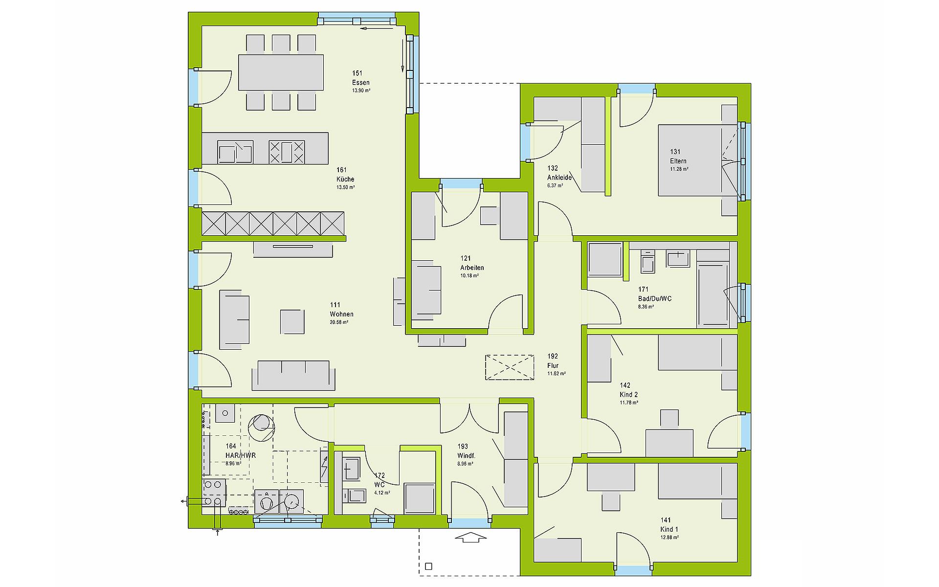 Erdgeschoss ComfortStyle 14.01 P von massa haus GmbH