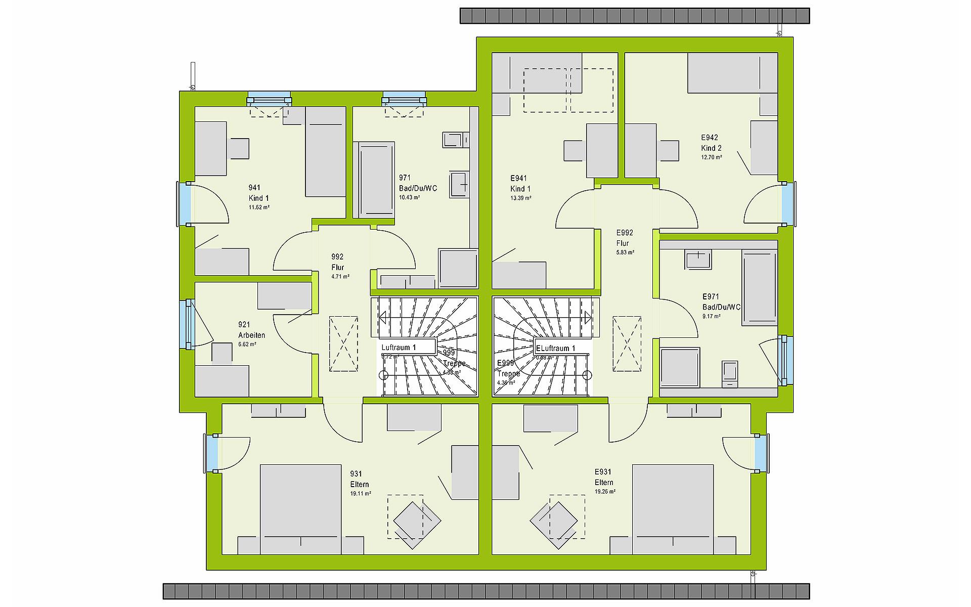 Dachgeschoss FamilyStyle 24.01 S von massa haus GmbH