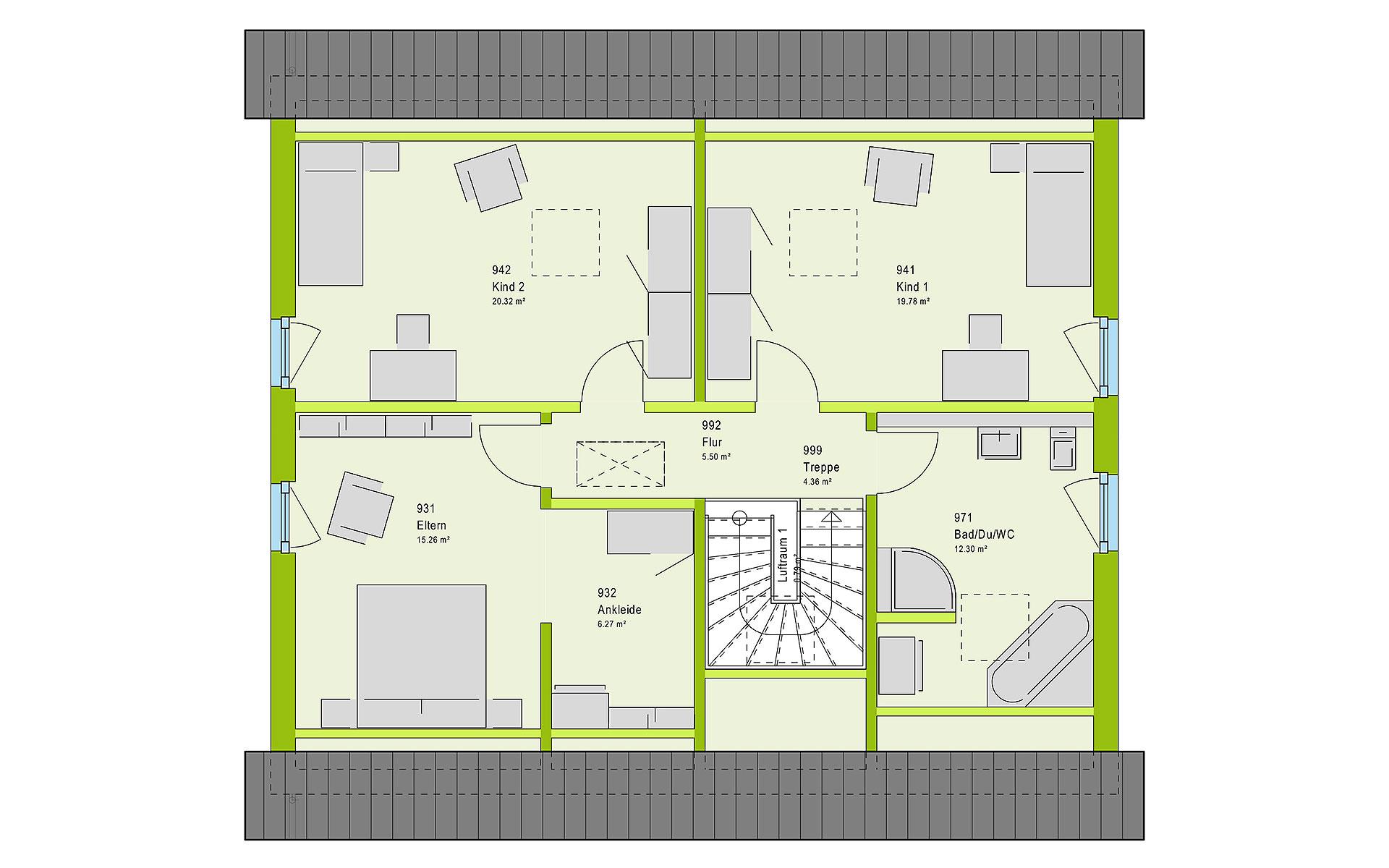 Dachgeschoss FamilyStyle 18.01 S von massa haus GmbH