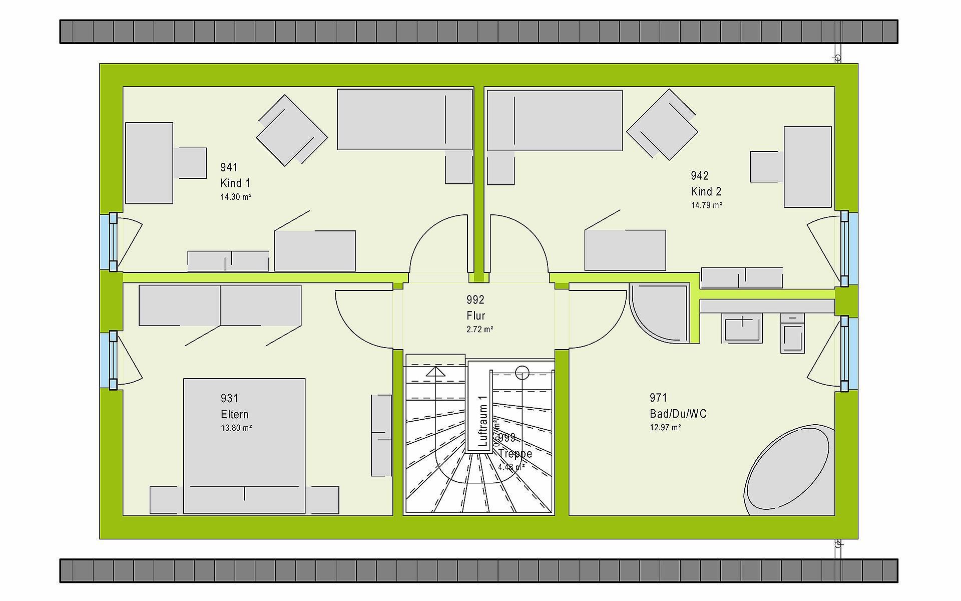 Dachgeschoss LifeStyle 12.01 S von massa haus GmbH