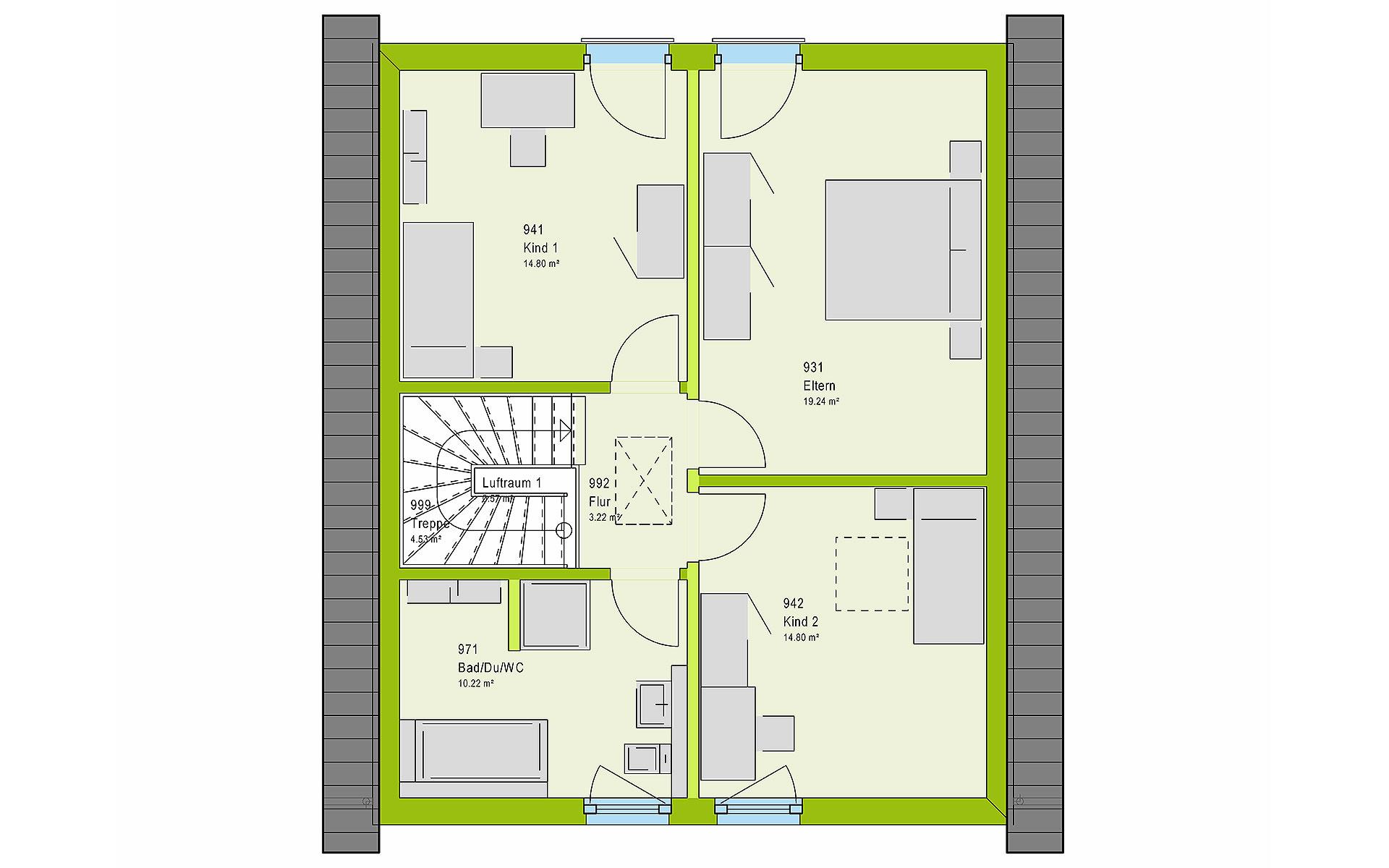 Dachgeschoss LifeStyle 13.01 S von massa haus GmbH
