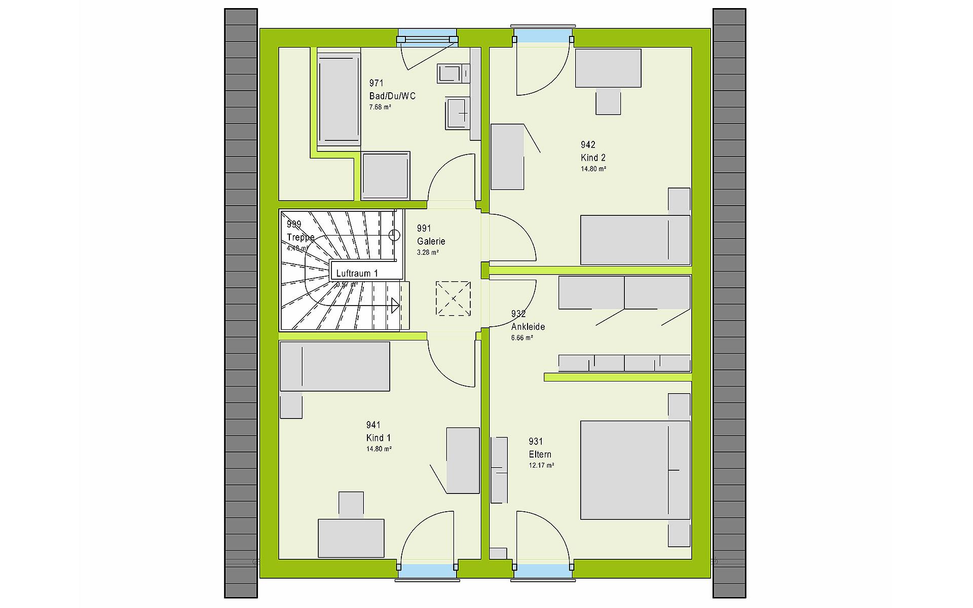 Dachgeschoss LifeStyle 13.02 S von massa haus GmbH