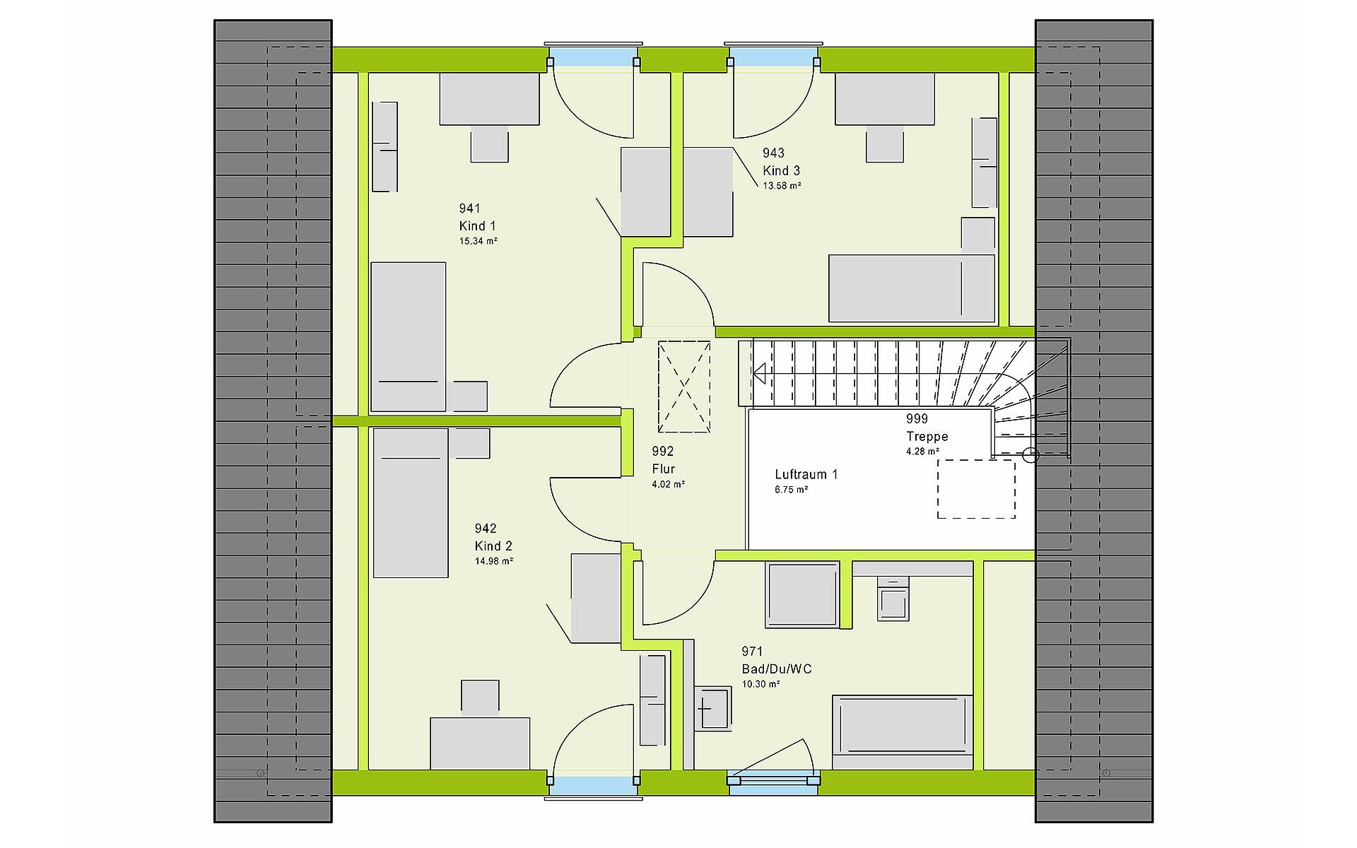Dachgeschoss LifeStyle 14.01 S von massa haus GmbH
