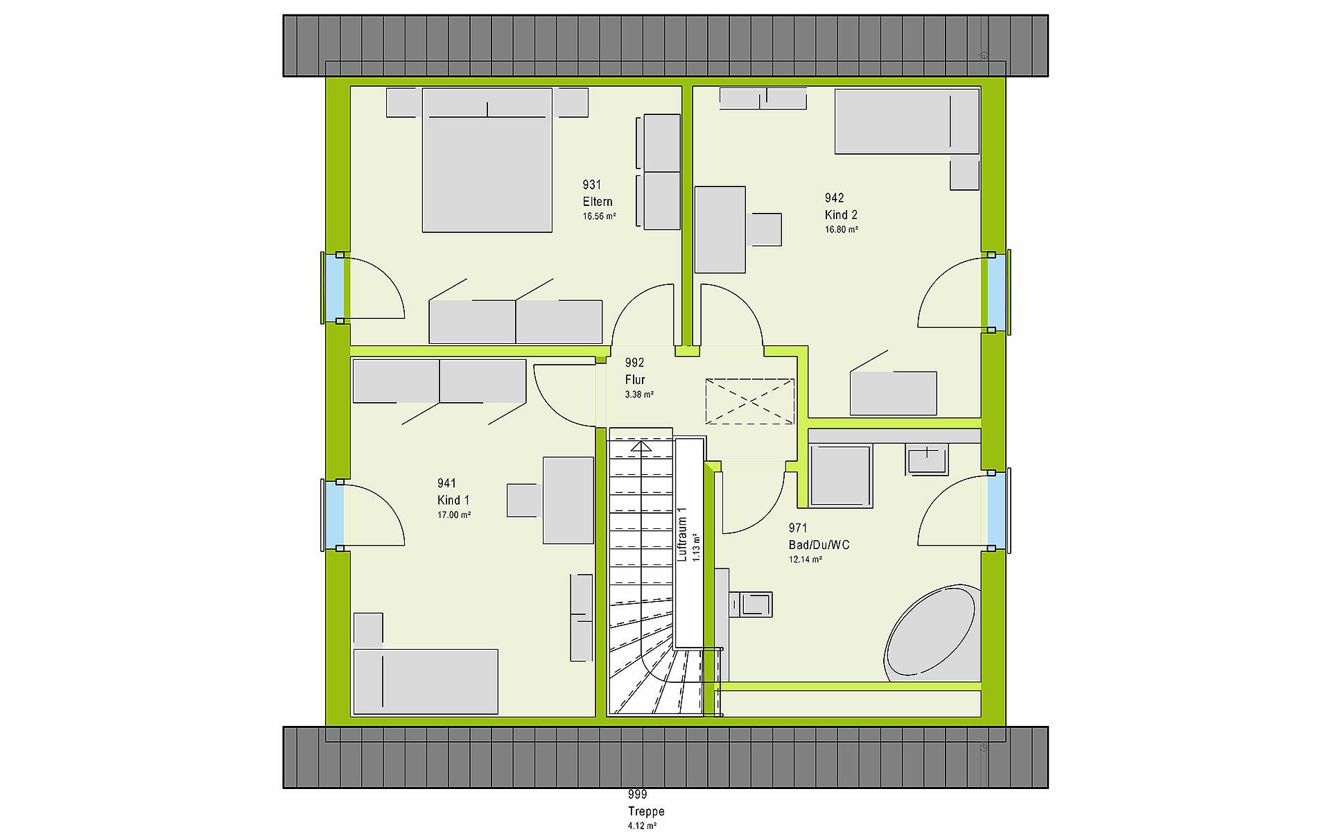 Dachgeschoss LifeStyle 14.02 S von massa haus GmbH