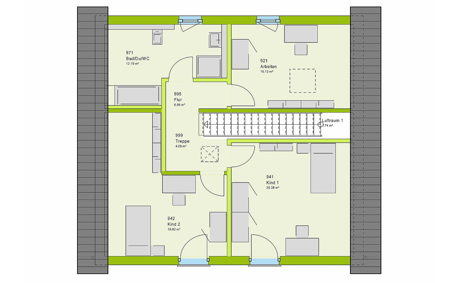 Dachgeschoss LifeStyle 15.01 S von massa haus GmbH