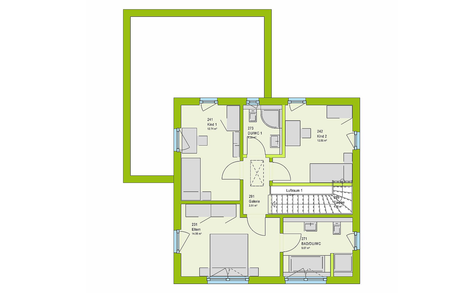 Obergeschoss LifeStyle 15.02 W von massa haus GmbH