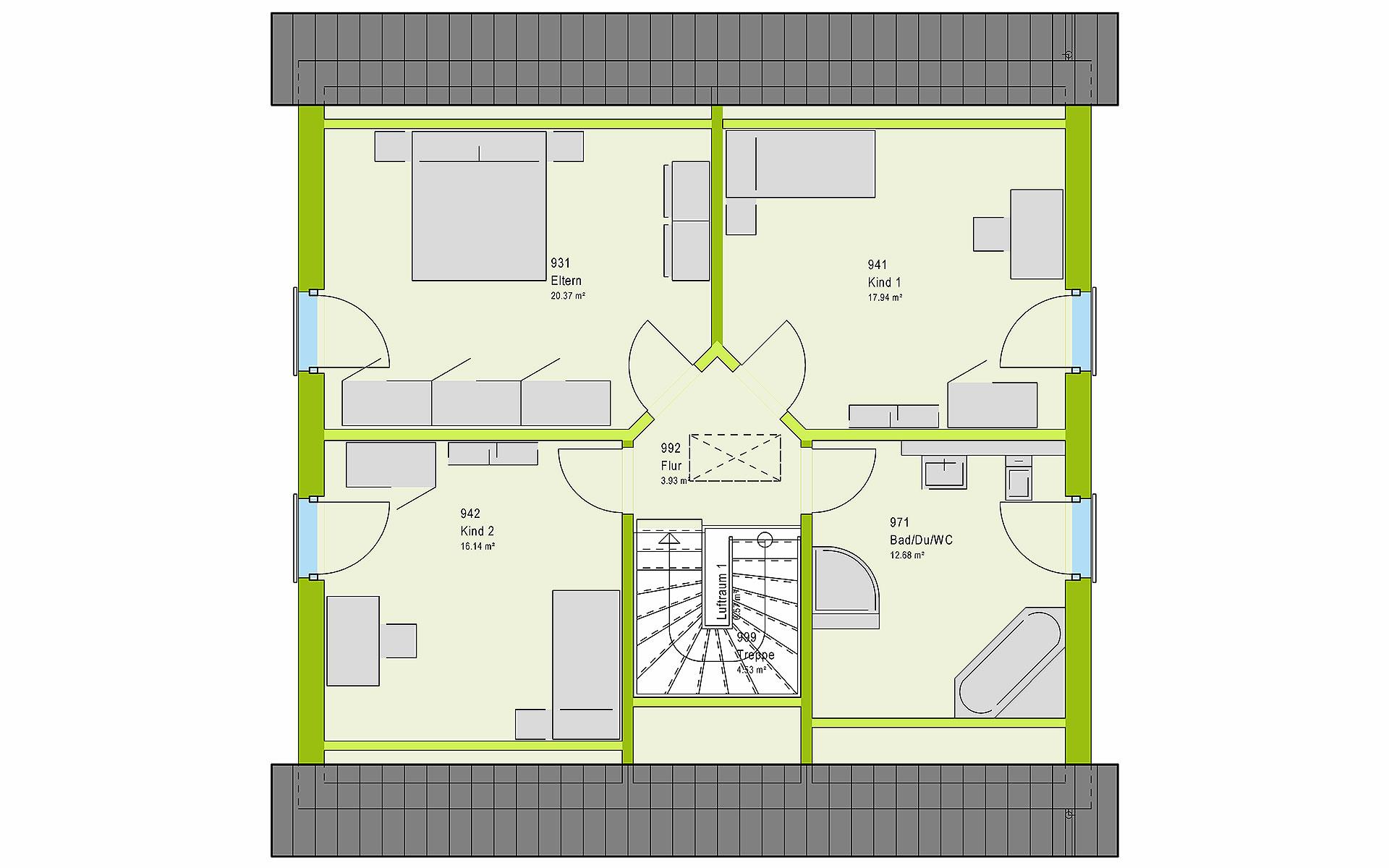 Dachgeschoss LifeStyle 16.02 S von massa haus GmbH