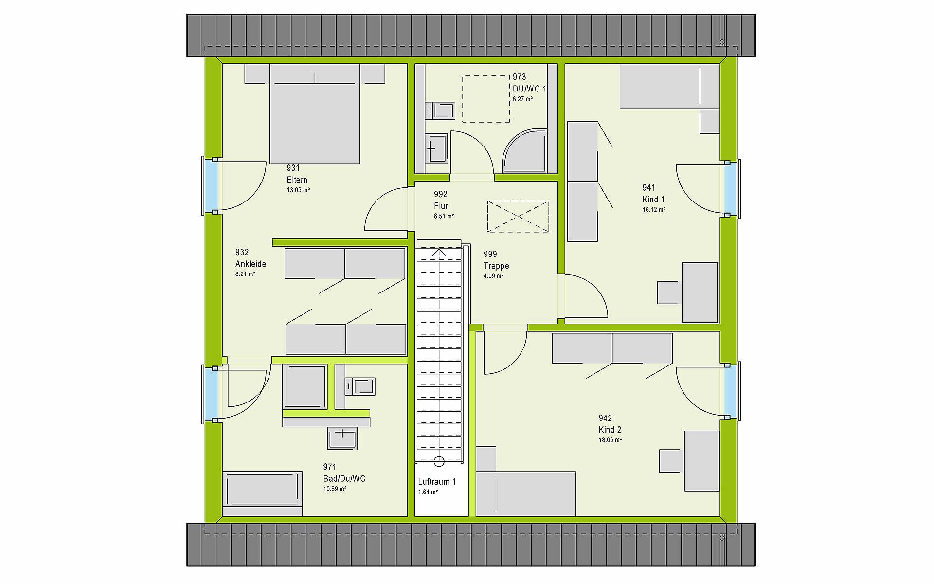 Dachgeschoss LifeStyle 16.03 S von massa haus GmbH