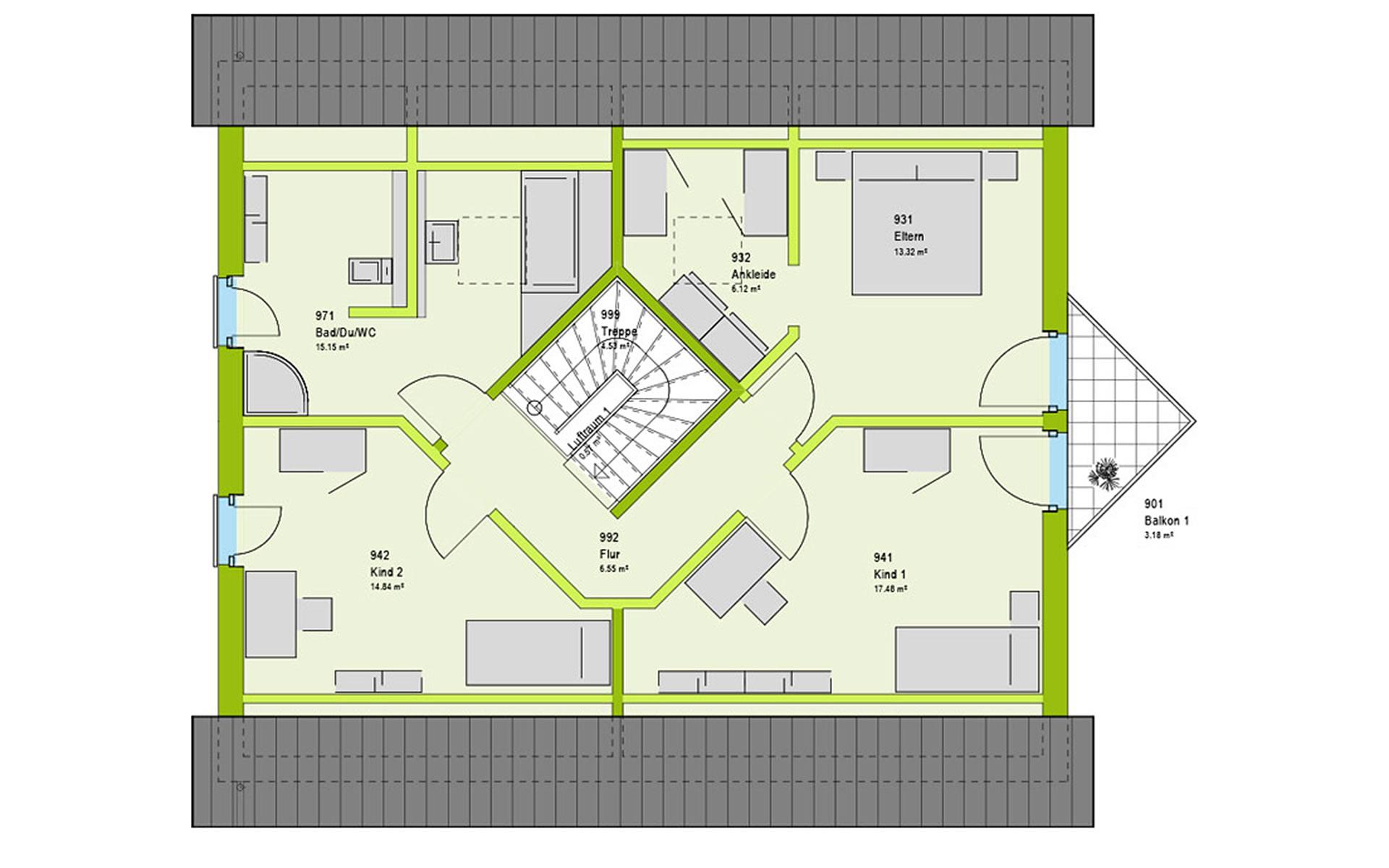 Dachgeschoss LifeStyle 18.01 S von massa haus GmbH