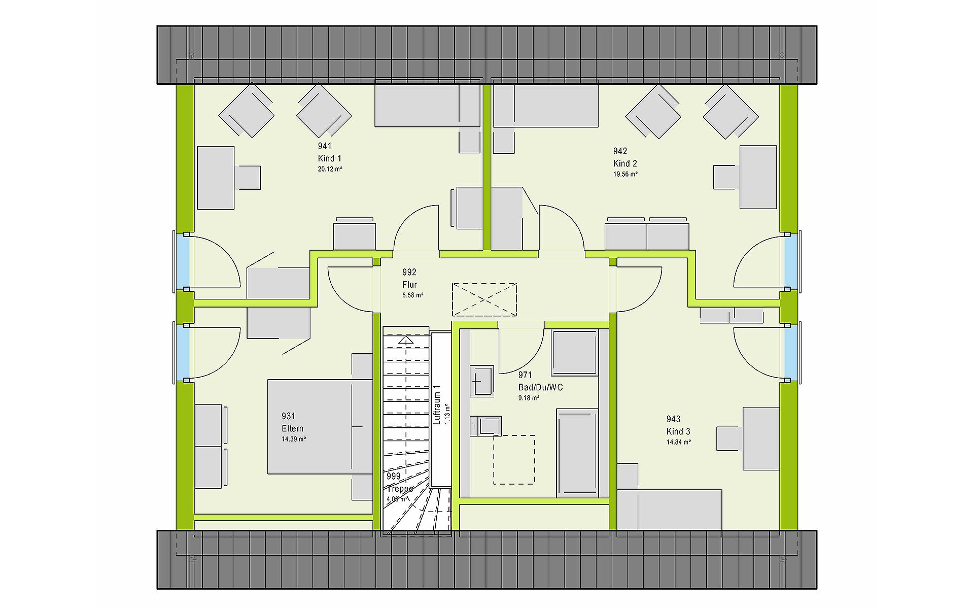 Dachgeschoss LifeStyle 18.02 S von massa haus GmbH