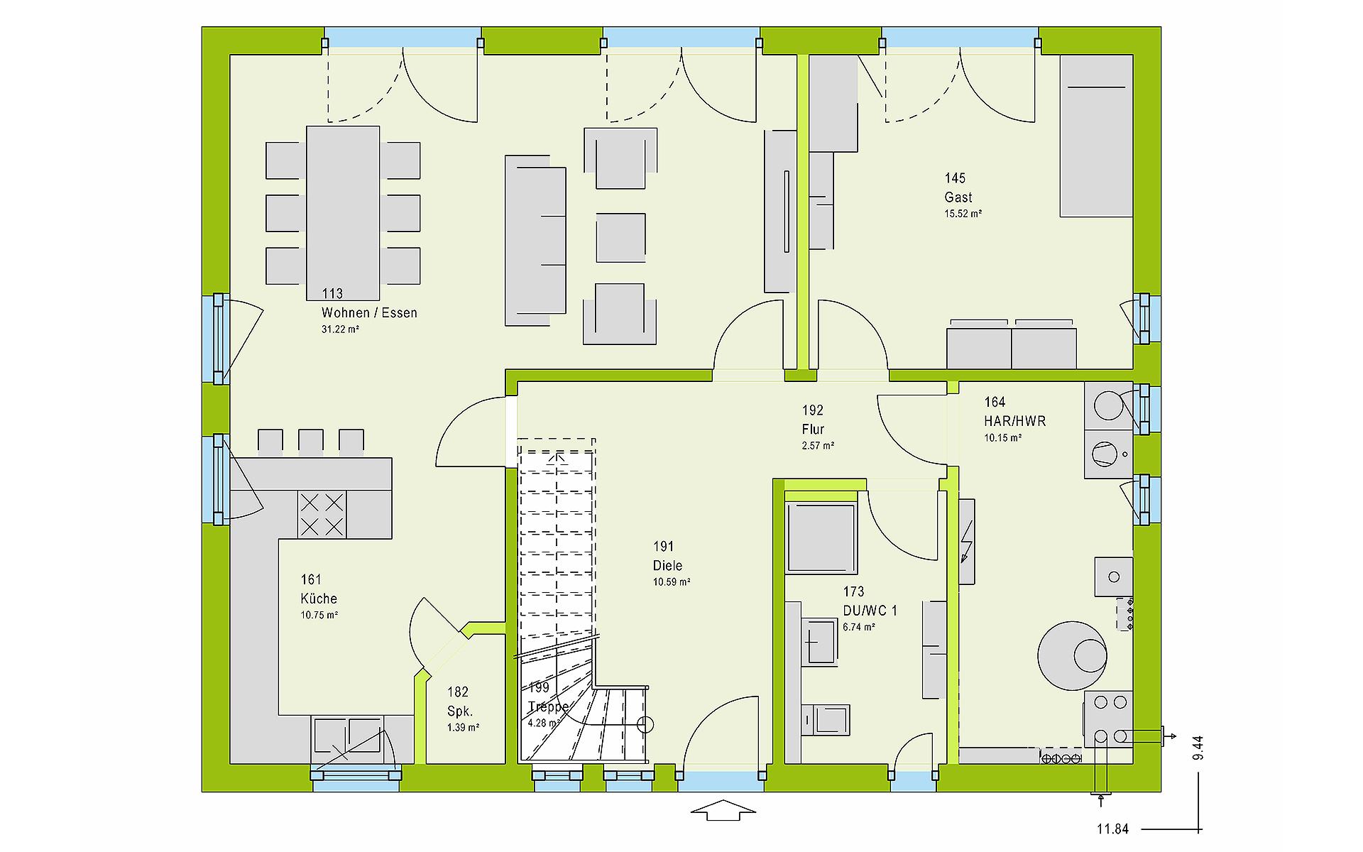 Erdgeschoss LifeStyle 18.02 S von massa haus GmbH