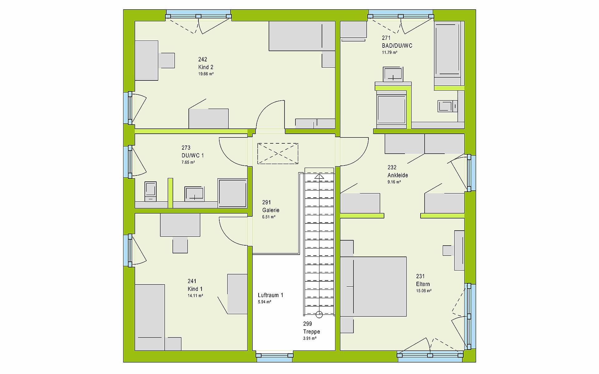 Obergeschoss LifeStyle 18.04 W von massa haus GmbH