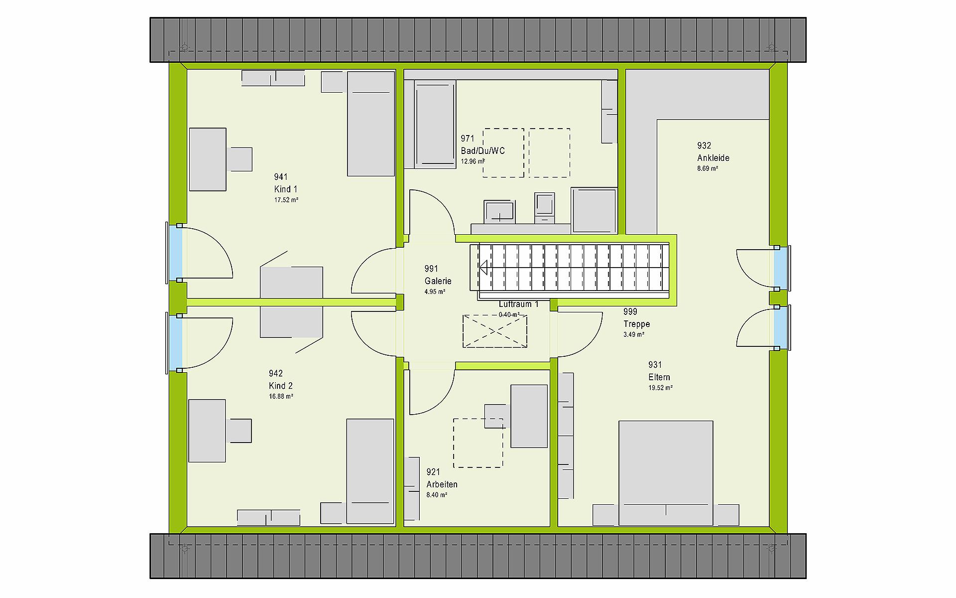 Dachgeschoss LifeStyle 18.07 S von massa haus GmbH