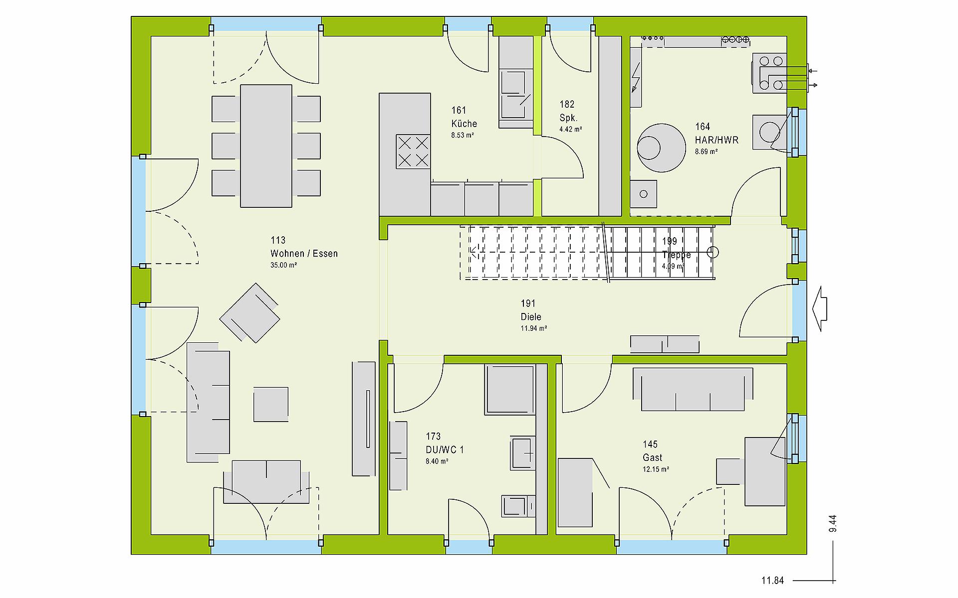 Erdgeschoss LifeStyle 18.07 S von massa haus GmbH