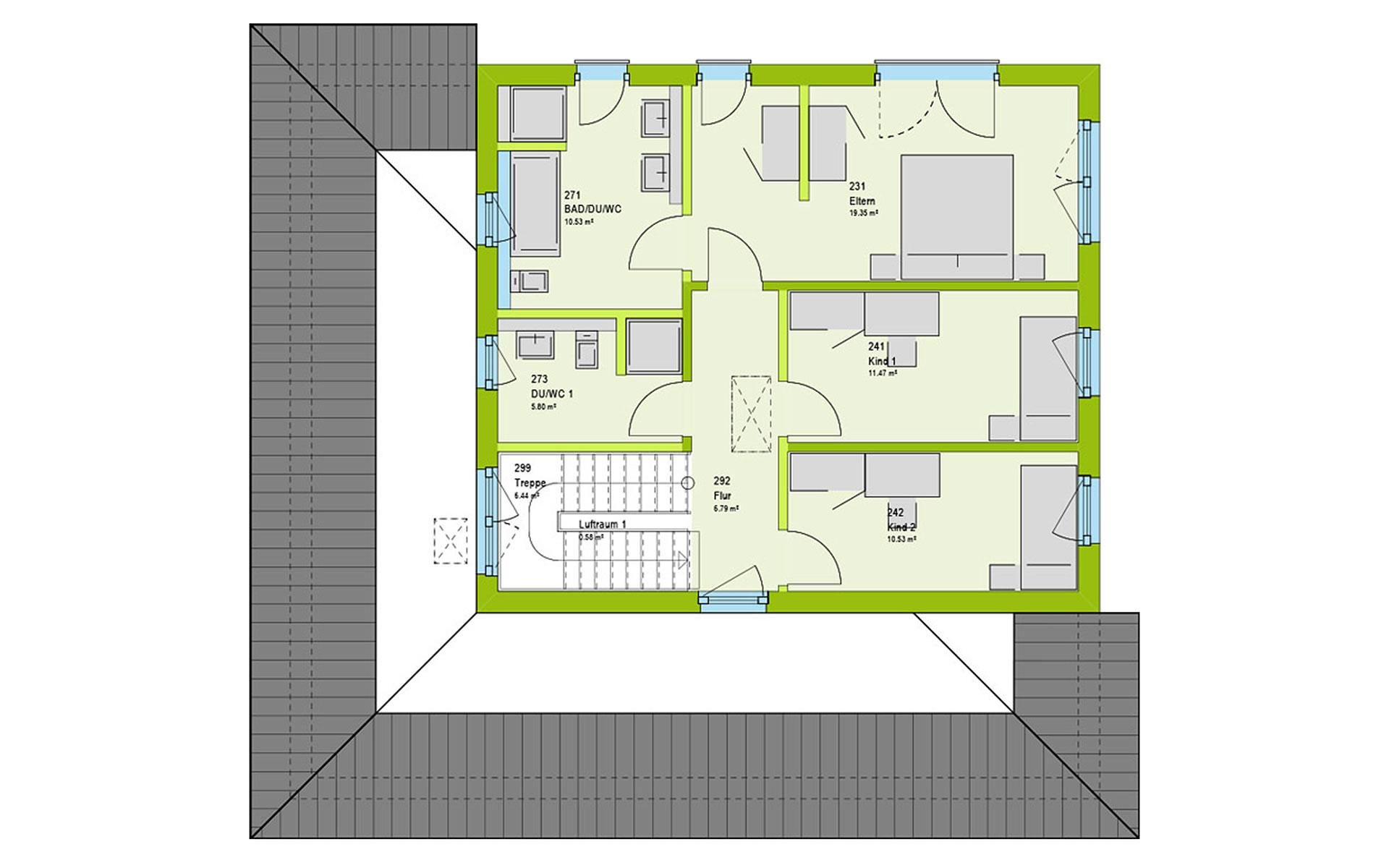 Obergeschoss LifeStyle 19.03 W von massa haus GmbH