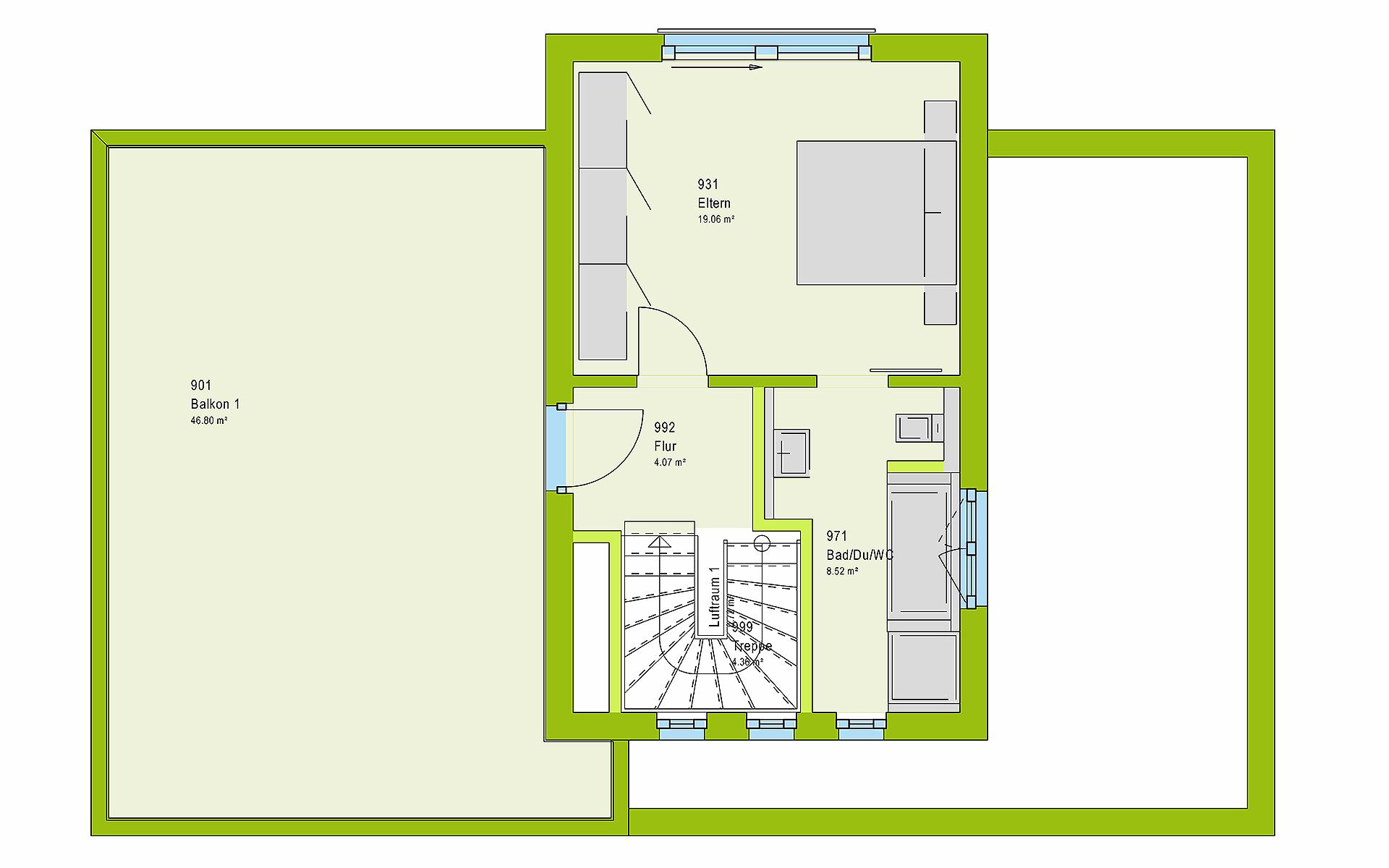 Obergeschoss LifeStyle 19.04 F von massa haus GmbH