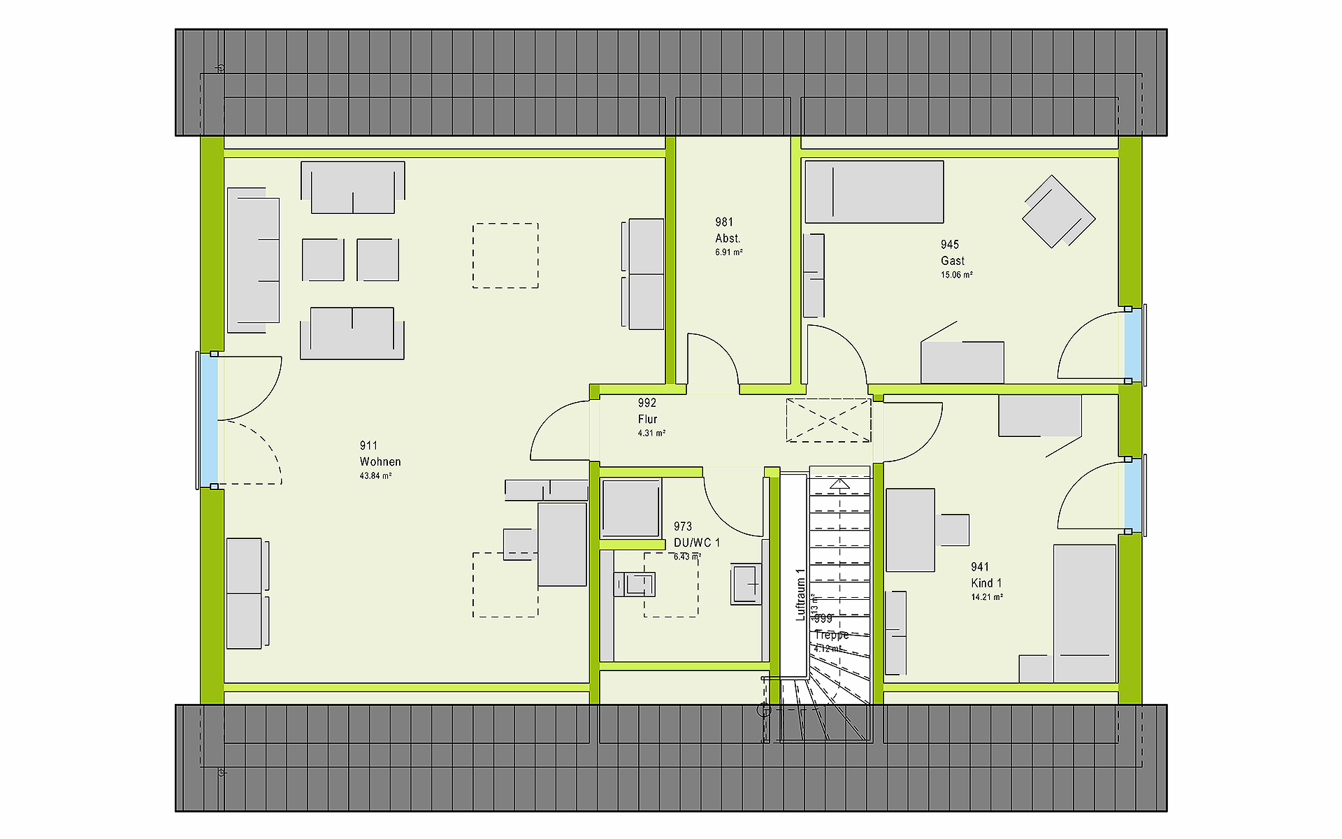 Dachgeschoss LifeStyle 20.01 S von massa haus GmbH