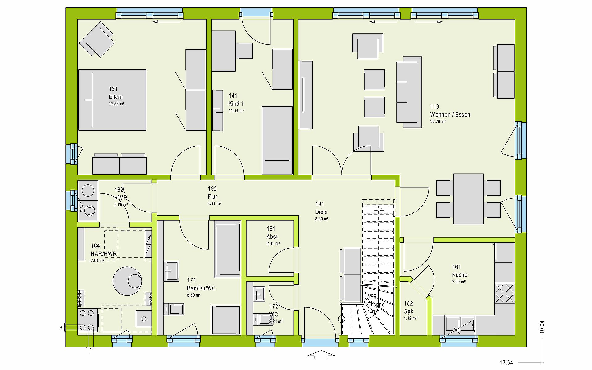 Erdgeschoss LifeStyle 20.01 S von massa haus GmbH