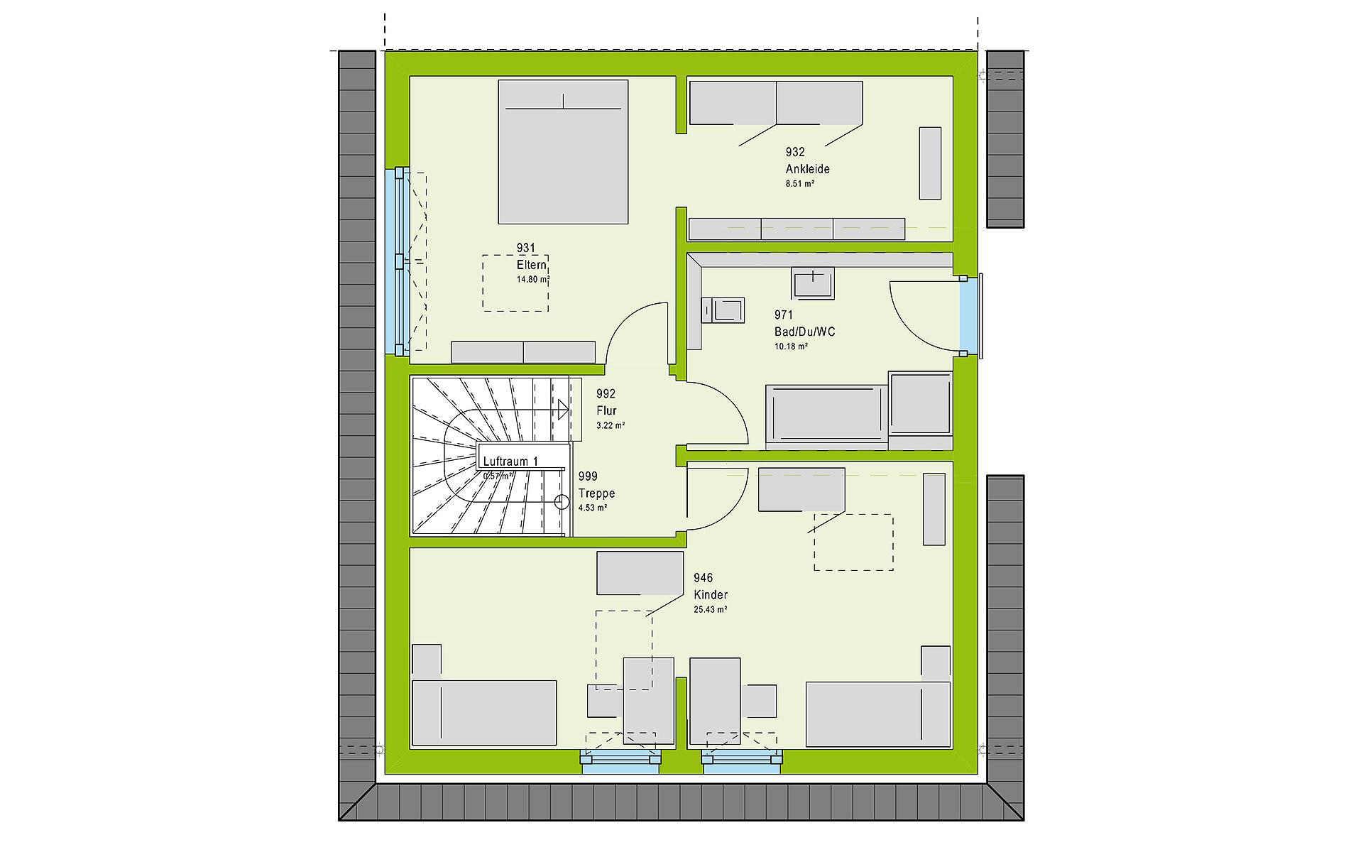 Dachgeschoss TwinStyle 13.01 W von massa haus GmbH