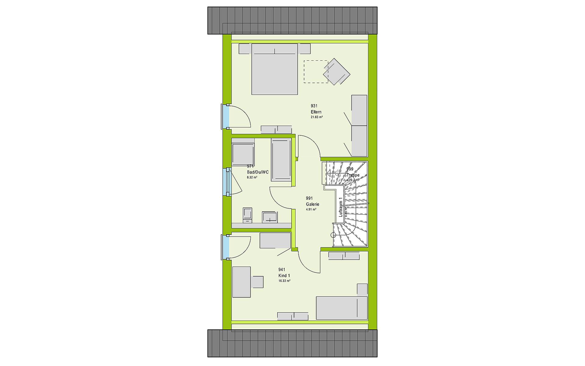 Obergeschoss TwinStyle 13.03 S von massa haus GmbH