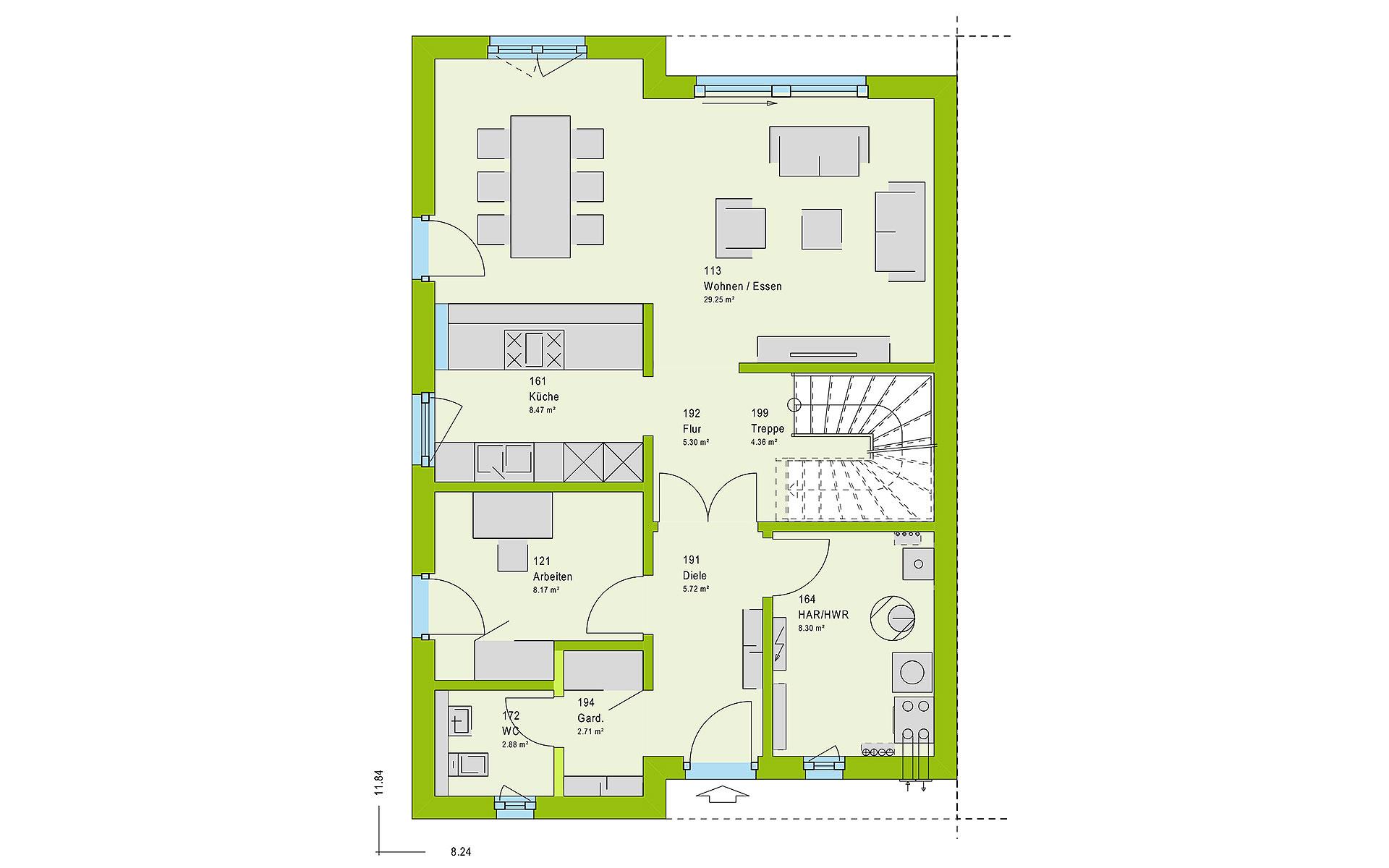 Erdgeschoss TwinStyle 15.01 S von massa haus GmbH