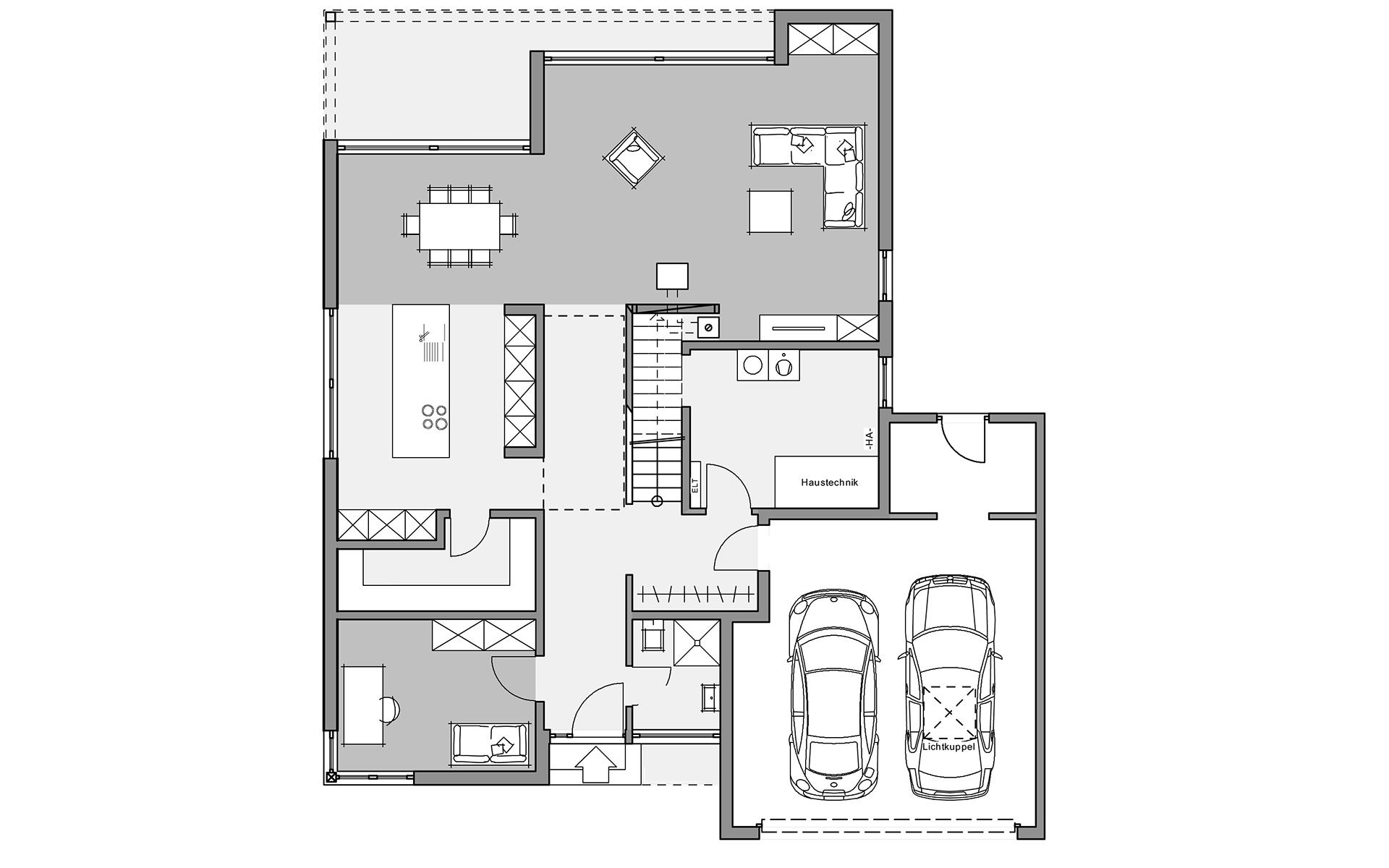 Erdgeschoss Bauhaus-Villa von Meisterstück-HAUS