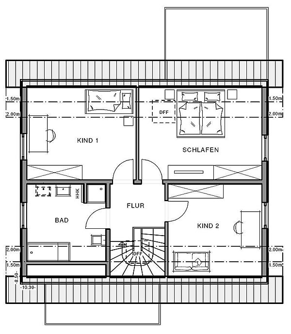 Dachgeschoss Freiraum Cube von Meisterstück-HAUS