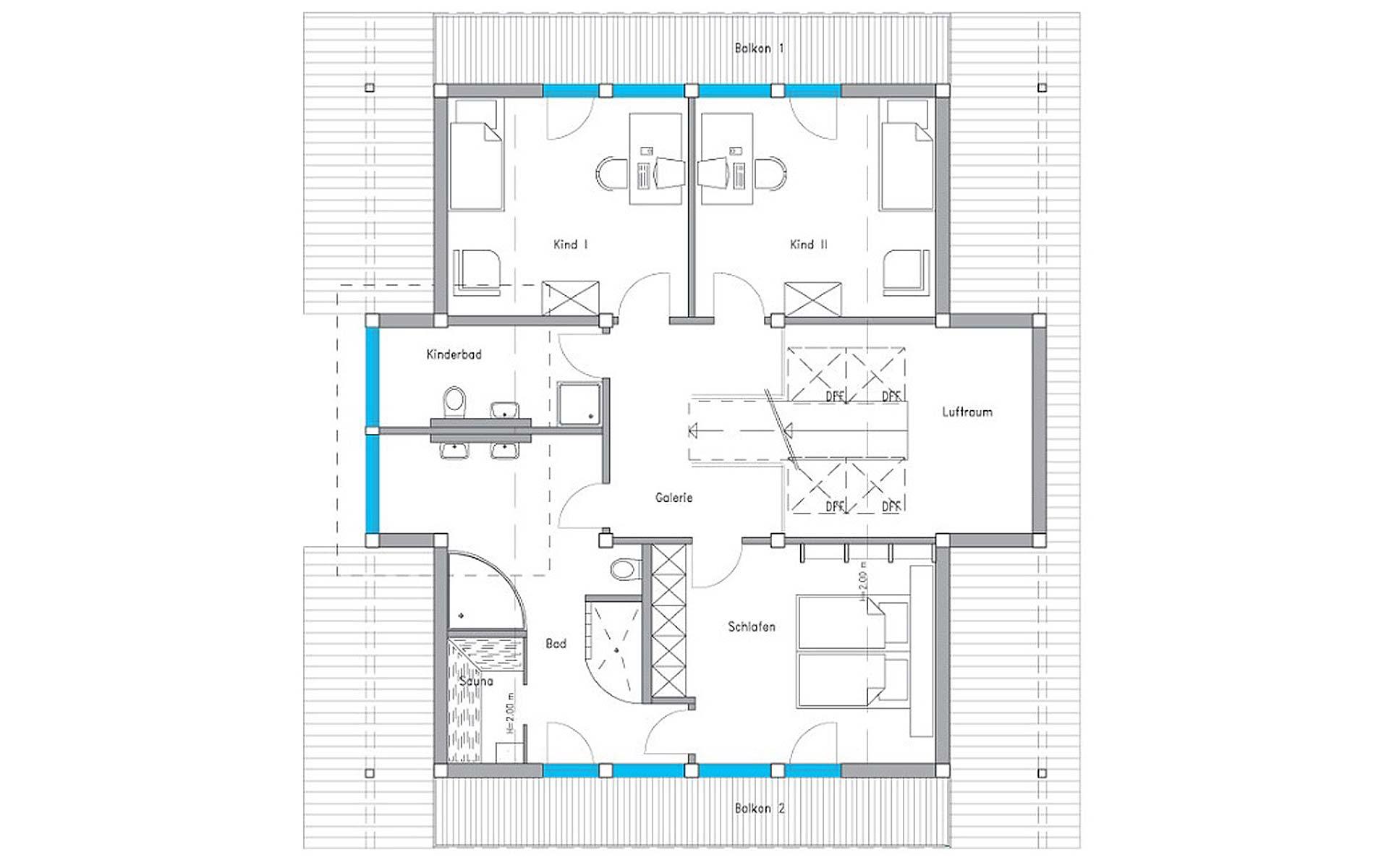 Dachgeschoss Ästhetik Musterhaus Langenhagen von Meisterstück-HAUS