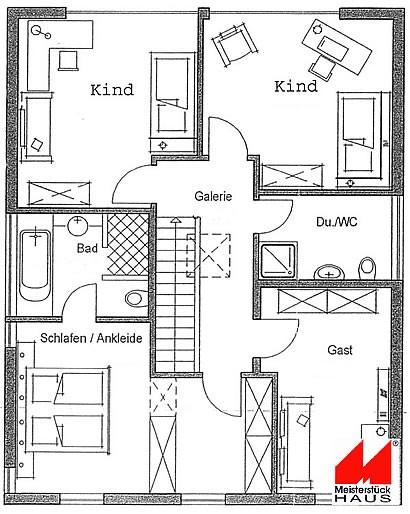 Obergeschoss Bauhaus-Stil von Meisterstück-HAUS