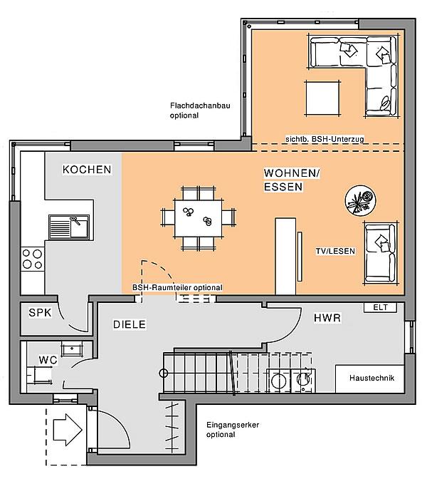 Erdgeschoss Kubus-Edition Holz 65 von Meisterstück-HAUS