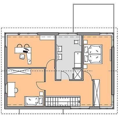 Obergeschoss Kubus Musterhaus Bad Vilbel von Meisterstück-HAUS
