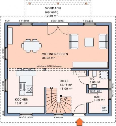 Erdgeschoss Freiraum Pult von Meisterstück-HAUS