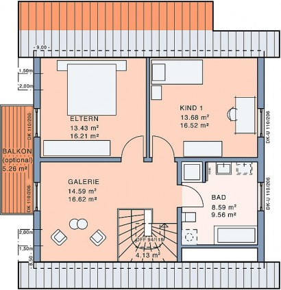 Dachgeschoss Freiraum WiGa von Meisterstück-HAUS