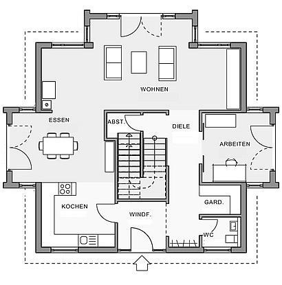 Erdgeschoss Moderne Stadtvilla von Meisterstück-HAUS
