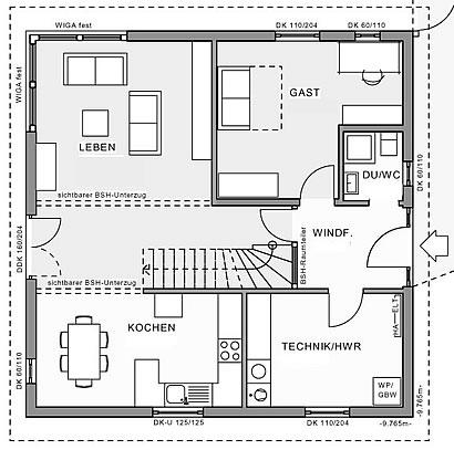 Erdgeschoss Stadthaus Idee 9,76 von Meisterstück-HAUS
