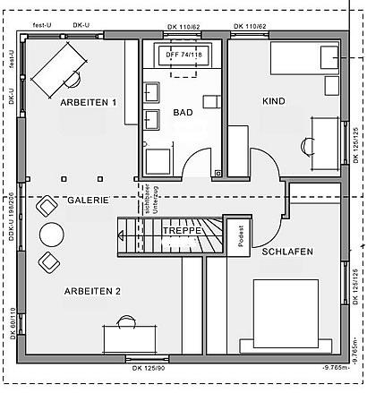 Obergeschoss Stadthaus Idee 9,76 von Meisterstück-HAUS