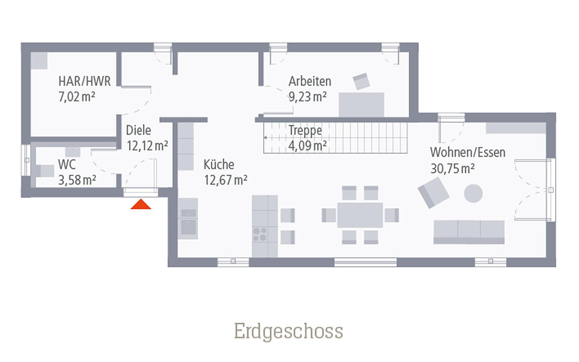 Erdgeschoss Design 01 von OKAL Haus GmbH