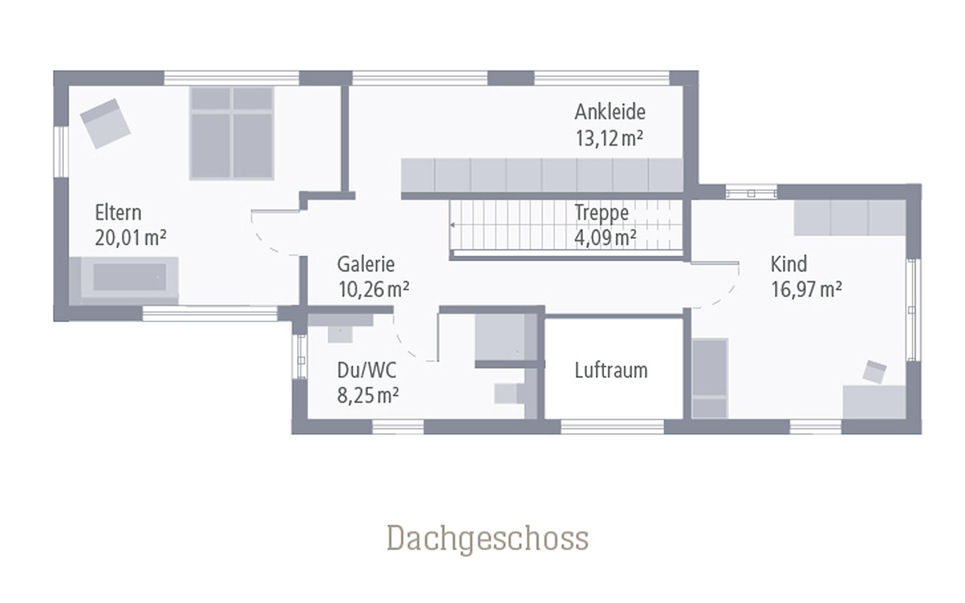 Obergeschoss Design 01 von OKAL Haus GmbH