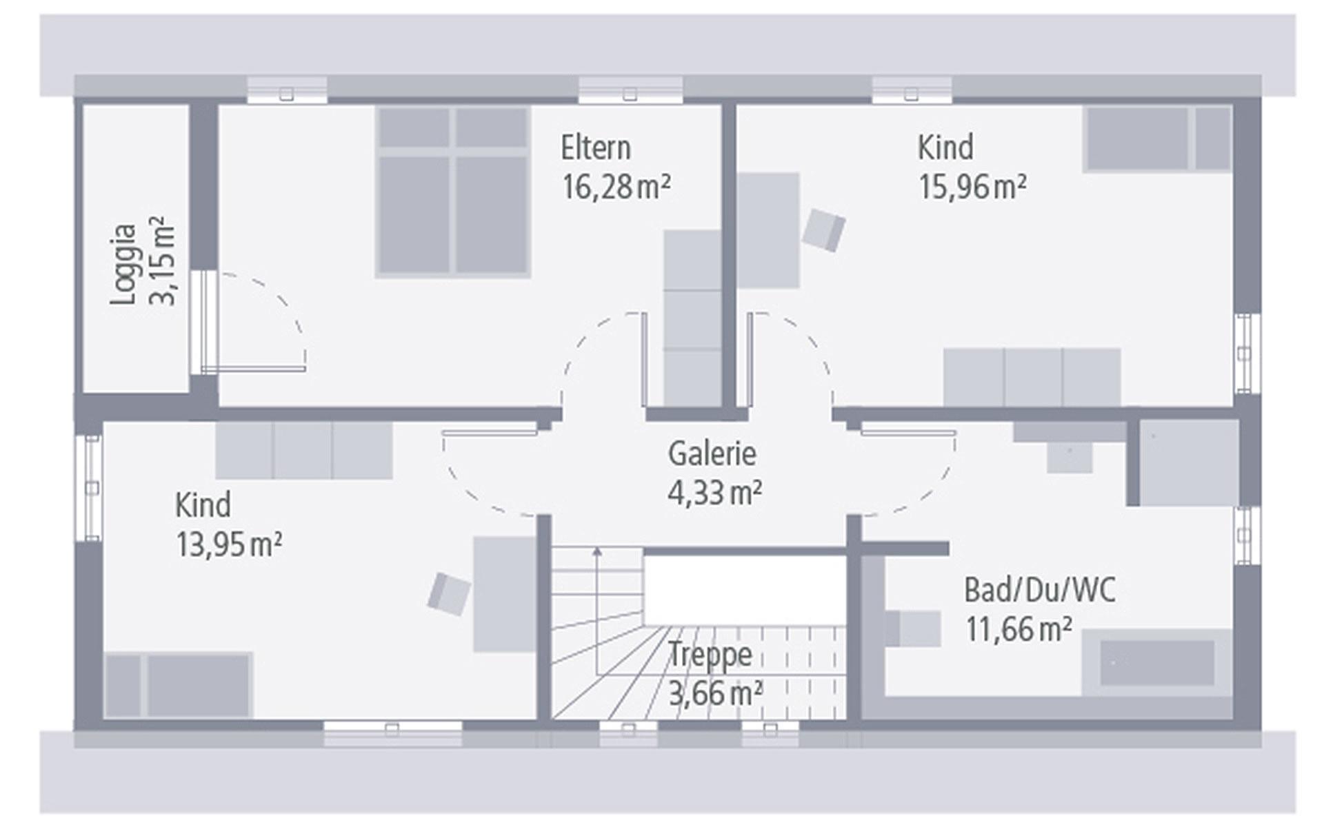 Dachgeschoss Design 02 von OKAL Haus GmbH