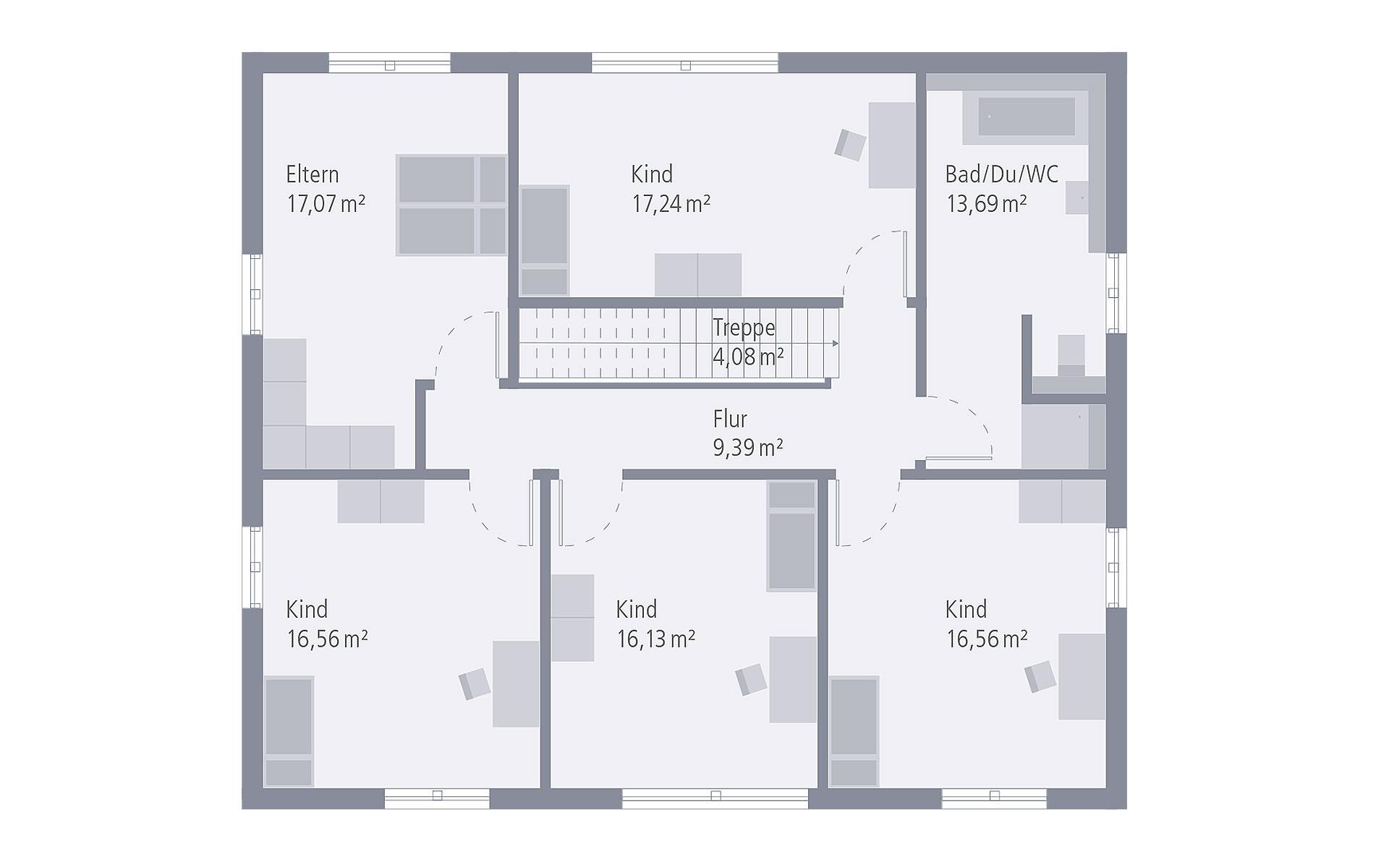 Obergeschoss Design 19.1 von OKAL Haus GmbH