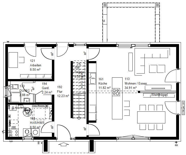 Erdgeschoss F 76-136 B 90 von OKAL Haus GmbH
