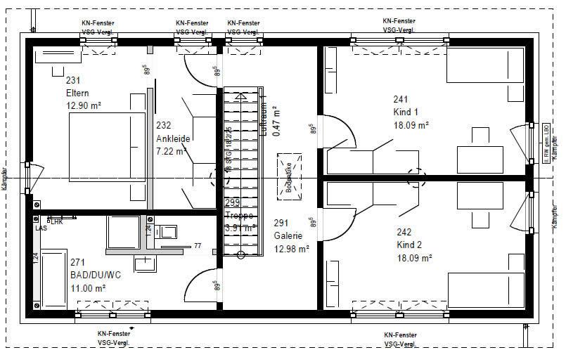 Obergeschoss F 76-136 B 90 von OKAL Haus GmbH