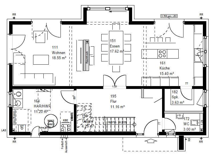 Erdgeschoss F 76-130 B V1 90 von OKAL Haus GmbH