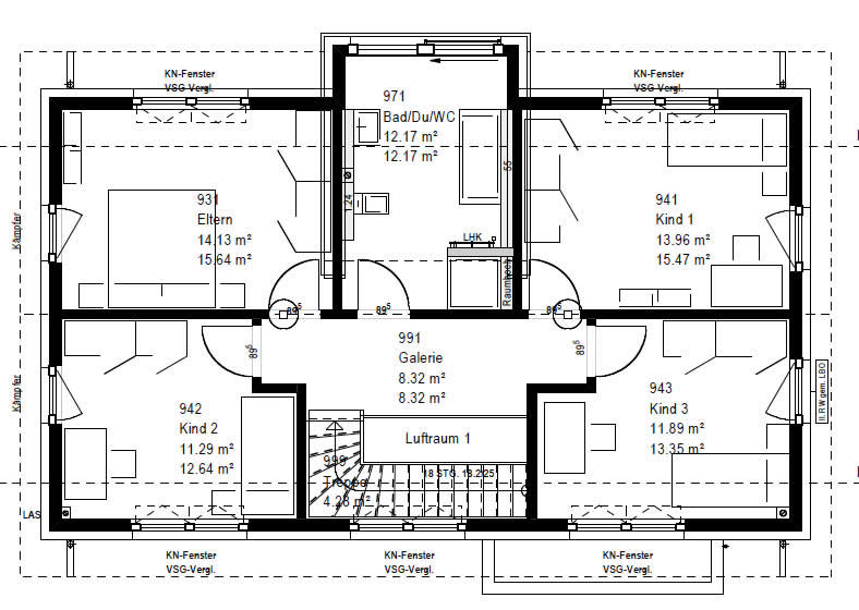 Obergeschoss F 76-130 B V1 90 von OKAL Haus GmbH