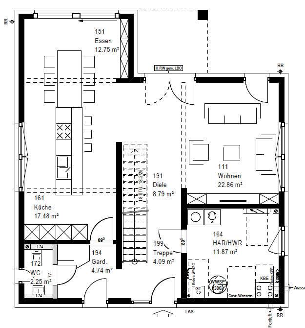 Erdgeschoss F 88-103-B 90 von OKAL Haus GmbH