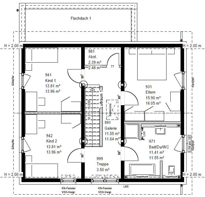 Obergeschoss F 88-103-B 90 von OKAL Haus GmbH