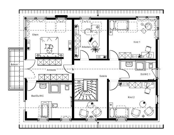 Dachgeschoss FN 104-134 B V3 von OKAL Haus GmbH
