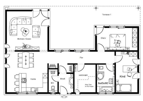 Erdgeschoss FN 110-170 A von OKAL Haus GmbH