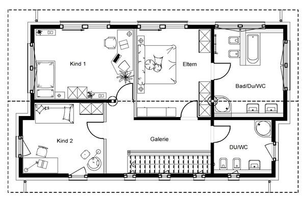 Obergeschoss FN 80 140 B V1 von OKAL Haus GmbH